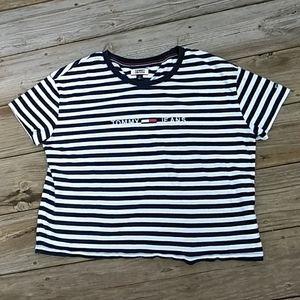 Tommy Hilfiger navy/white striped tee. SM
